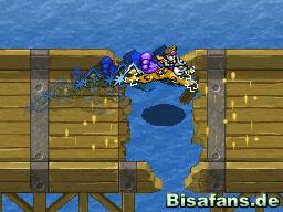 Raikou springt mühelos über das Loch