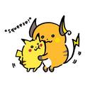Umarmung: Pikachu und Raichu