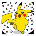 Pikachu mit Konfetti
