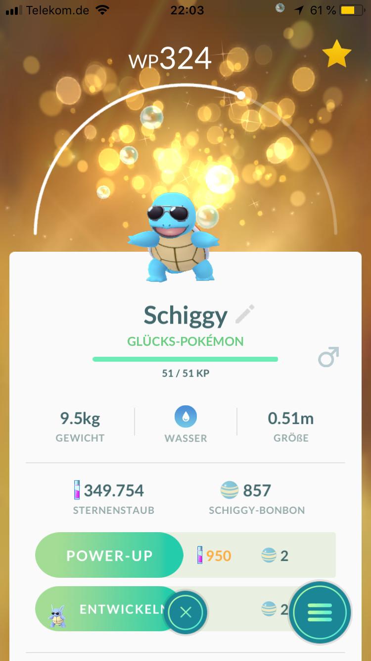 Schiggy als Glücks-Pokémon