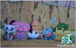 Pikachu und Bisasam feuern an